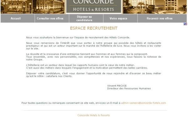 Concorde Hotels : nouvel espace de recrutement en ligne