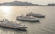 Le Boréal, L'Austral et le Lyrial ensemble dans la rade de Marseille - Photo Ponant