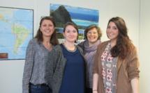 Une partie de la petite équipe de ATC Routes du Monde. De gauche à droite, Isabelle Maurice-Peroumal responsable des voyages, Marilou Wojcik commerciale, Myriam Ruchon directrice et Sarah Mahouachi commerciale. Photo MS.