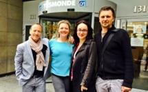 Signature de la 1ère saison en juillet 2015 avec de dte à gche, Jean da Luz, co-président du Groupe TourMaG.com, Sandrine Frantz (Lukarn), Marie-Lise Lafon (Direction des programmes TV5 Monde) et Xavier Petit, responsable Production de TourMaGPROD